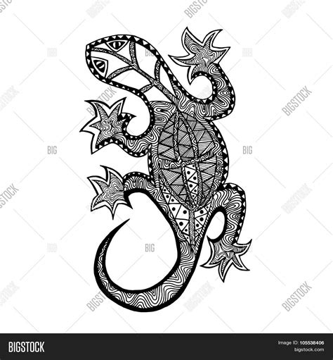big lizard coloring page zentangle stylized lizard coloring page stock vector