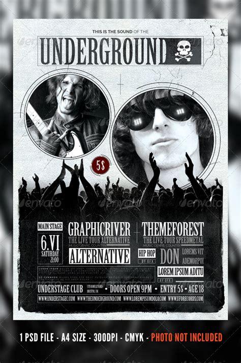 Vintage Rock Concert Festival Flyer Poster Graphicriver Concert T Shirt Template