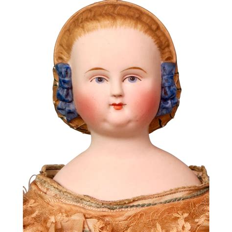 parian shoulder head doll antique 1860 parian shoulder doll with blue beaded