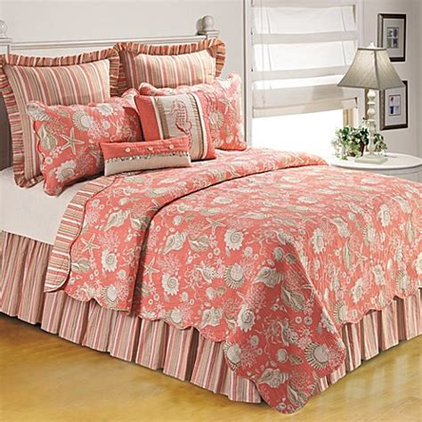 coral king bedding natural shells quilt in coral bed bath beyond