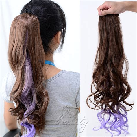 ombre ponytail technique ombre clip in ponytail pony tail hair extension wrap on