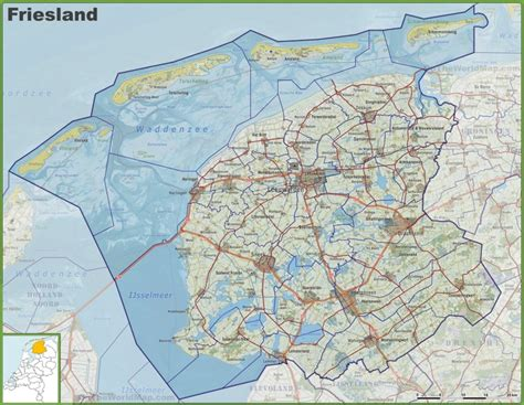 netherlands friesland map map of friesland with cities and towns