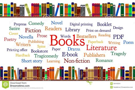 words and your books books word cloud and books on shelf stock vector image