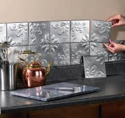 14 pc floral embossed silver backsplash tin wall tiles