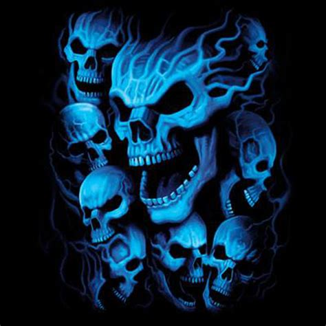 dickies black work shirt custom design blue skulls hanging out