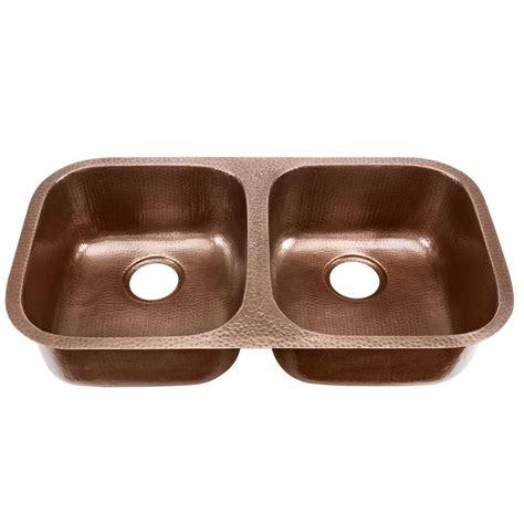 Undermount Copper Kitchen Sinks Glacier Bay Undermount Solid Copper Sink 19 In Basin 50 50 Kitchen Sink In Hammered
