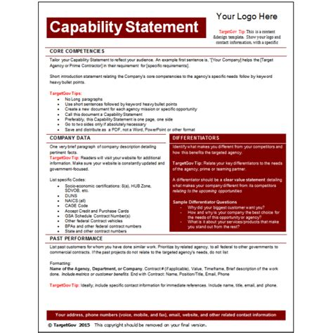 Capability Statement Editable Template Targetgov Capability Statement Template Word