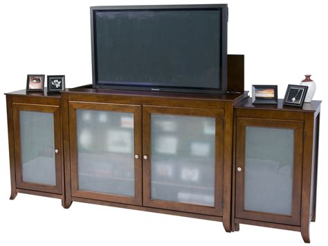 cherry wood tv stands cabinets brookside cherry tv lift cabinet with sides for flat