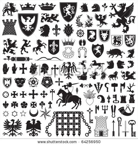 heraldic design elements vector medieval heraldry symbols heraldic symbols and elements