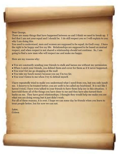 declaration of independence breakup letter exles breakup letter wbpl declaration independence