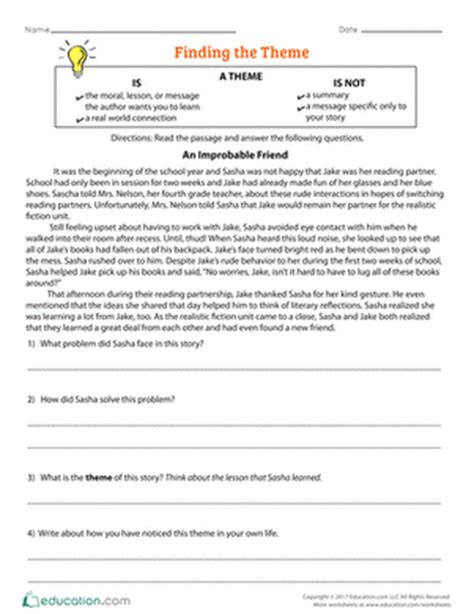 themes in reading comprehension 4th grade comprehension worksheets free printables