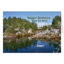 birthday in mountain lake swan card zazzle