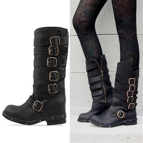 ladies biker style boots new 2013 fashion jeffrey cbell cowhide vintage buckle