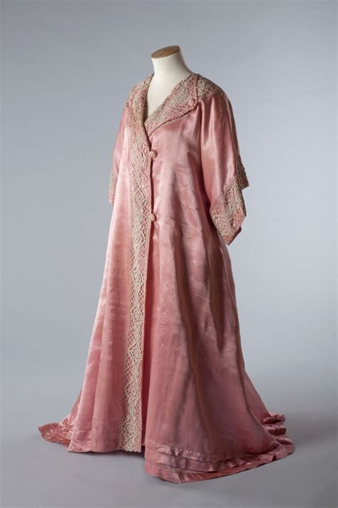 Russel Kimono tea gown of pink silk satin by and allen cut in