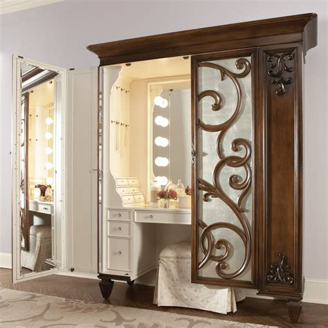 bedroom vanity with mirror brown and white wooden bedroom vanity with lights and