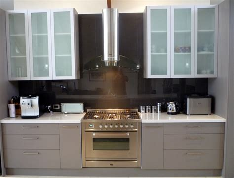 Kitchen Cabinet Doors Glass White Overhead Kitchen Cabinets With Frosted Glass Door Inserts Photo Courtesy Of Stylish