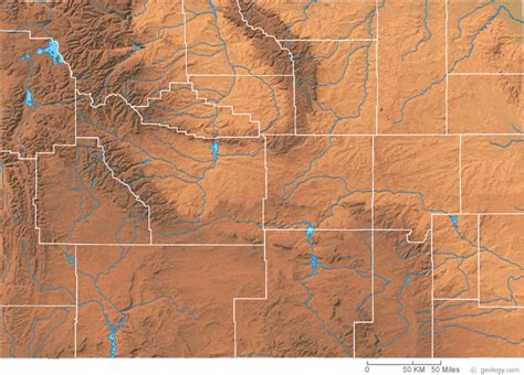 physical map of wyoming wyoming physical map and wyoming topographic map