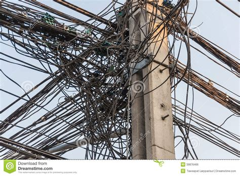 electric pole wires tangle cable on pole stock photo image 39876466