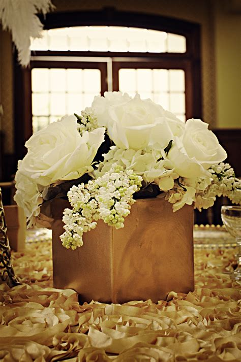 Classic Low Wedding Centerpiece With Ivory Roses And Classic Wedding Centerpieces