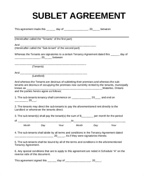 10 Sle Sublet Agreements Sle Templates Sublease Contract Template