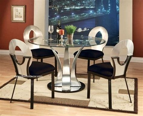 metal silver glass top dining table and chair set