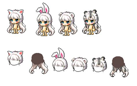 maplestory kitty hair kitty bunny polar bear white tiger hair by deiicousx3 on