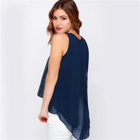 longer on the top and shorter on the bottom hairstyles short front long back shirt sequin top flare blouse blue