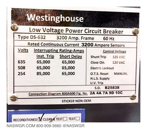 Westinghouse Ds 632 Circuit Breaker E O D O 3200a North