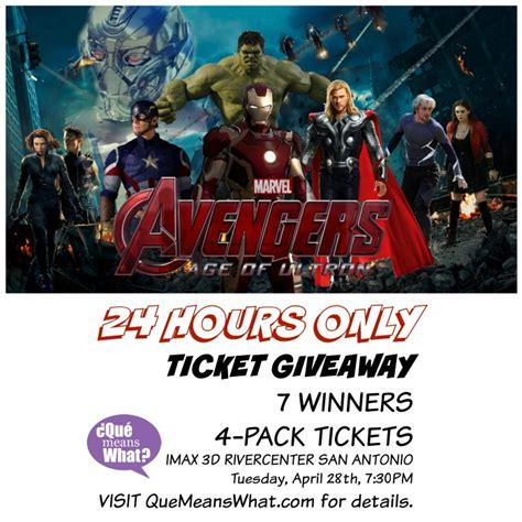 Movie Ticket Giveaway - the avengers age of ultron movie tickets giveaway imax 3d san antonio