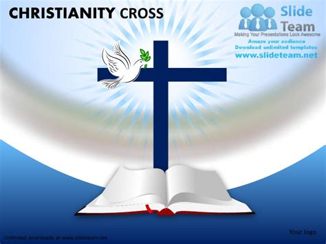 Christian christanoty cross with dove bible power point