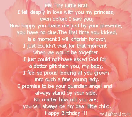 My Tiny Little Brat, Daughter Birthday Poem