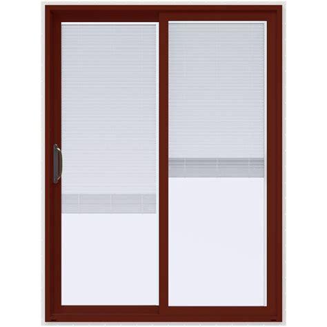 60 Inch Sliding Glass Patio Door Jeld Wen 60 In X 80 In V 4500 Mesa Prehung Left Sliding Vinyl Patio Door With White