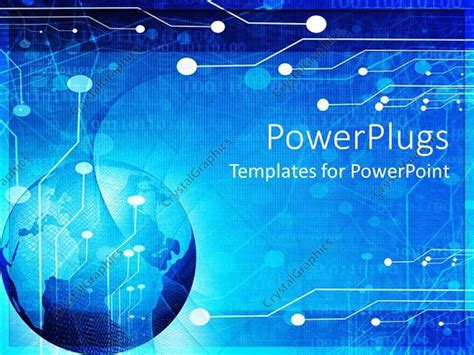 Powerpoint Template Blue Globe Circuit Board Background Electronics Engineering Ppt Templates Free