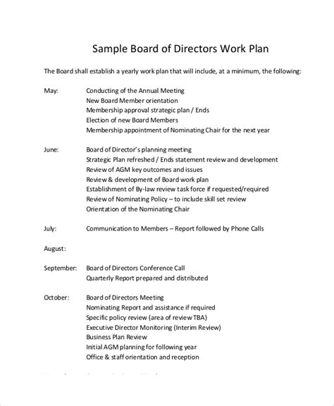 Work Plan Template 12 Free Pdf Word Documents Download Free Premium Templates Board Of Directors Application Template