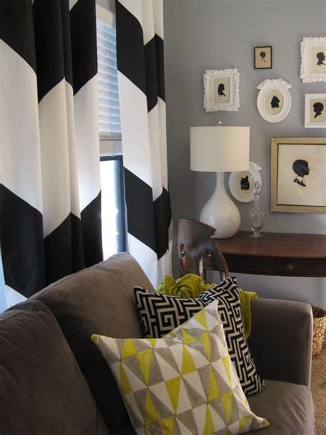 Chevron Curtains In Living Room by Silhouettes And Chevron Curtain Living Room Vignette
