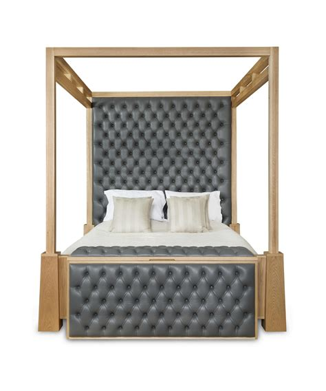 luxury four poster bed in leather and oak with ottoman by ac design