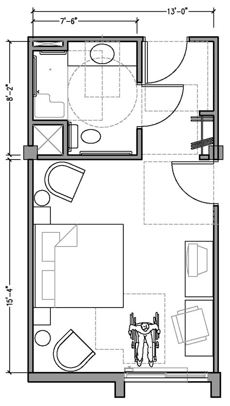 room dimension planner plan 2a accessible 13 ft wide hotel room based on 2004
