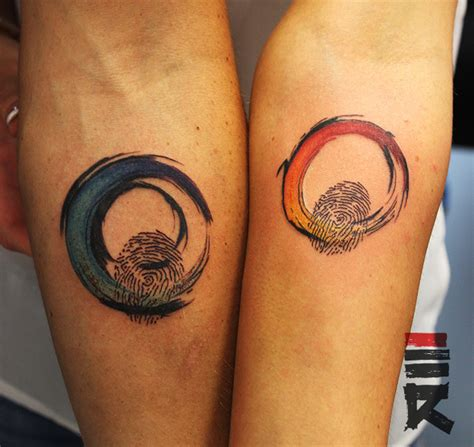 lovers fingerprint rainbow tattoo by enhancertattoo on