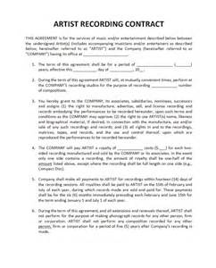 artist manager contract template agreement series part 1 the recording contract