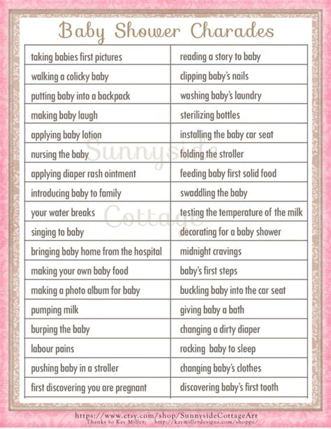 printable bridal shower charades baby charades shower game printable baby by