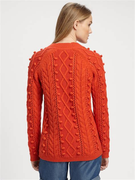 Sweater Stitch burberry brit popcorn stitch sweater in orange lyst
