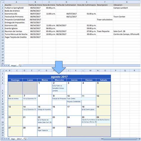crear calendario en excel crear un calendario con data de excel