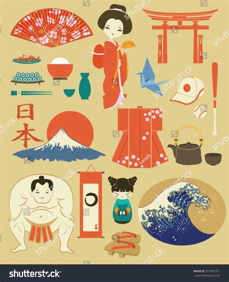 japan design japan landmarks symbols icons set japanthemed stock vector
