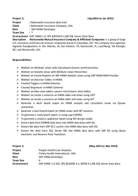 Sap Hana Resume by Sap Hana Resume