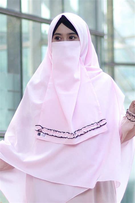khimar jasmine baby pink anizah khimar khimar kerudung