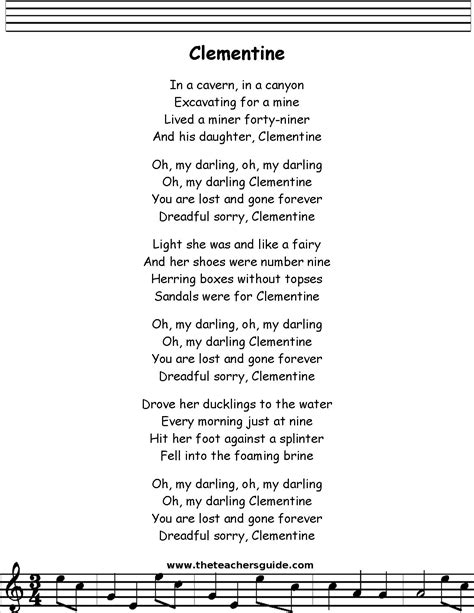 song for my oh my clementine lyrics