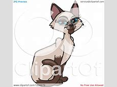 Clipart of a Blue Eyed Female Siamese Cat Sitting ... Free Clipart Of Siamese Cats