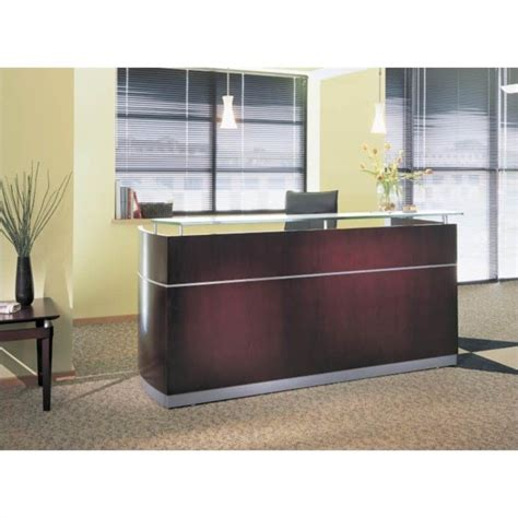 Napoli Reception Desk Mayline Napoli Reception Desk In Mahogany 52906