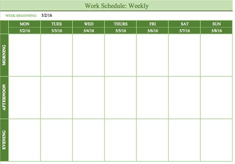 weekly work schedule template free bi weekly schedule template schedule template free