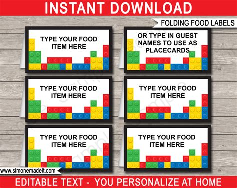 label card template lego food labels place cards lego theme birthday